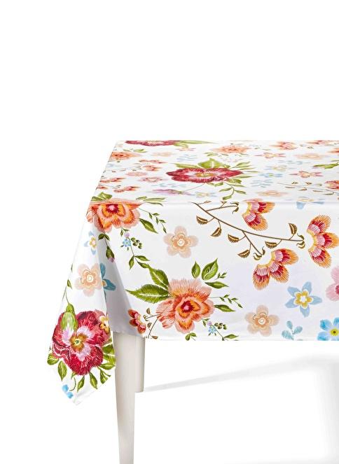 The Mia Floral Masa Örtüsü - 230 x 150 Cm - Beyaz Çiçekli Beyaz